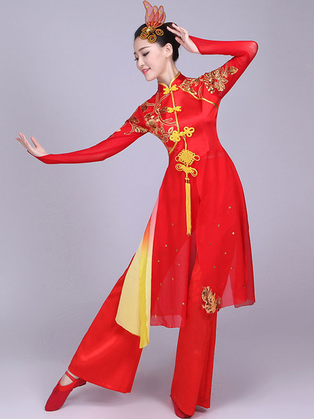 Milanoo Traditional Chinese Costumes Red Kung Fu Tang Suit Dance Costumes