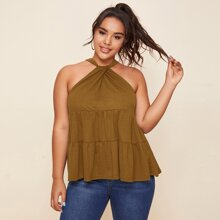 Plus Solid Twist Halterneck Top