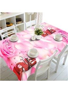 Romantic Love Pink Rose Petals Prints Polyester Fibre Washable 3D Tablecloth