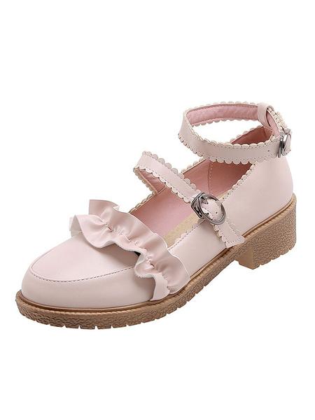 Milanoo Bombas Sweet Lolita Zapatos blancos de lolita con volantes y punta redonda