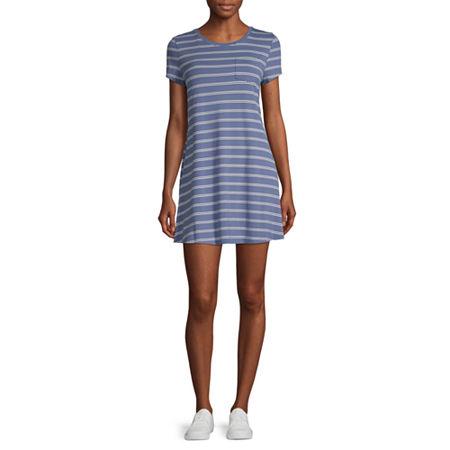 Arizona-Juniors Short Sleeve Swing Dresses, Large , Blue