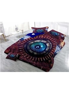Cyber Technology Eye Button Wear-resistant Breathable High Quality 60s Cotton 4-Piece 3D Bedding Sets