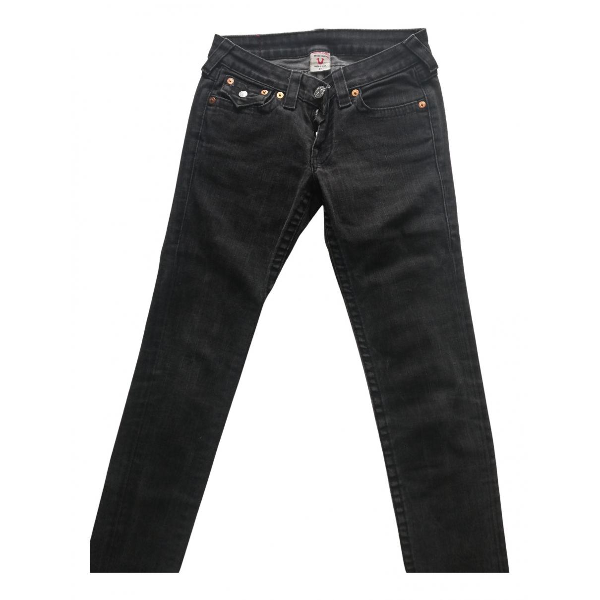 True Religion N Grey Cotton Trousers for Women 38 FR