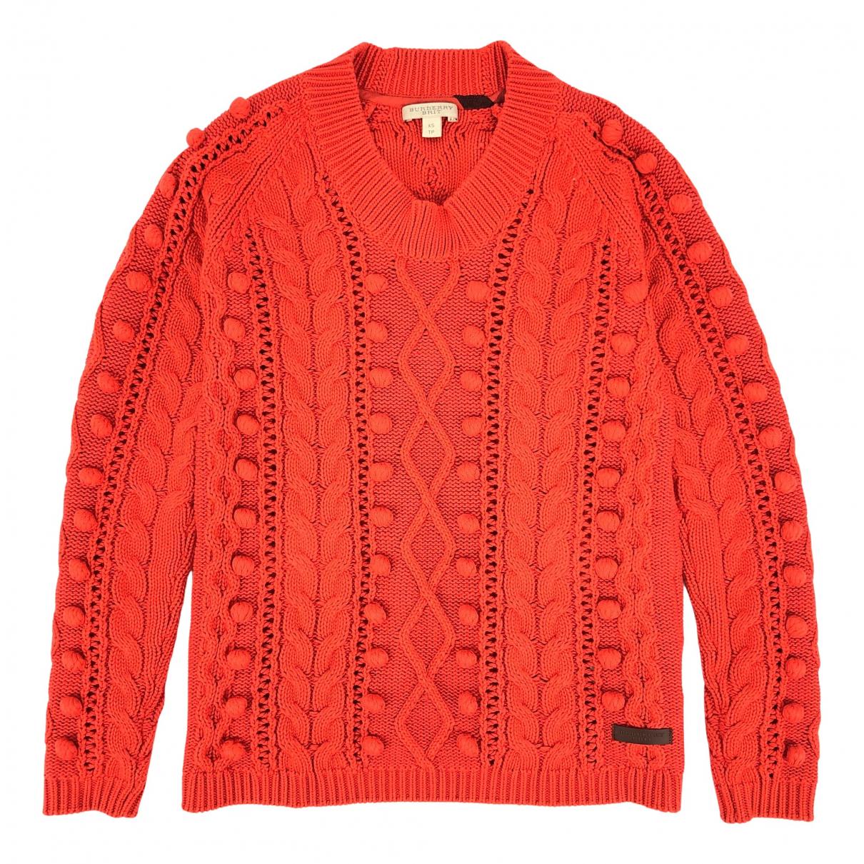 Burberry - Pull   pour femme en coton - orange