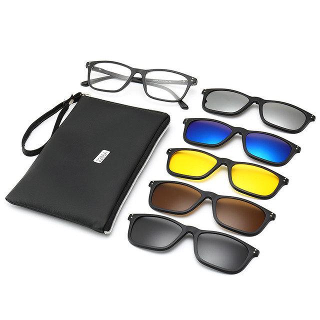 Five-piece Myopia Sunglasses Clip Polarized Sunglasses Magnetic Frame Round Face Mirror Night Vision Mirror