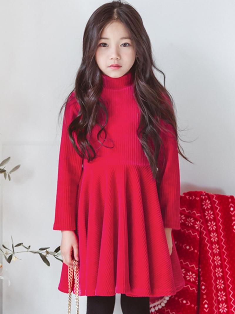 Ericdress Long Sleeve High-Neck Pleated Girl's Dress