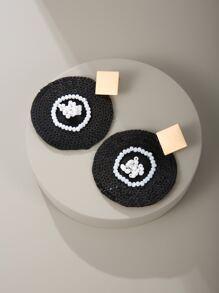 Beaded Round Design Earrings
