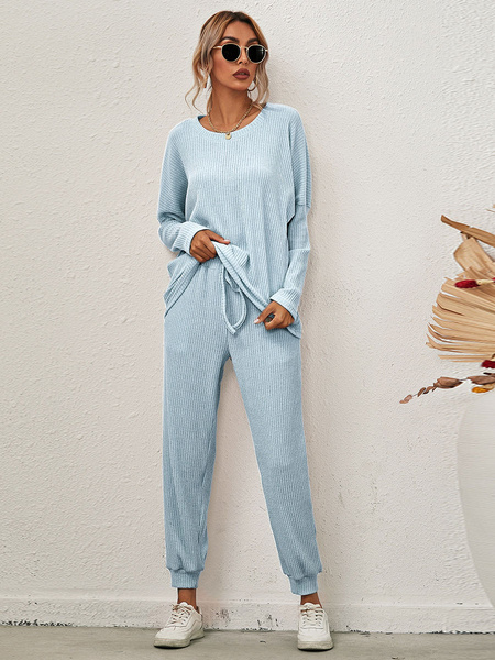 Milanoo Women\'s Loungewear 2-Piece Pink Jewel Neck Long Sleeve Cotton Home Wear