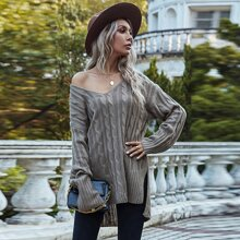 Cable Knit Drop Shoulder Slouchy Sweater