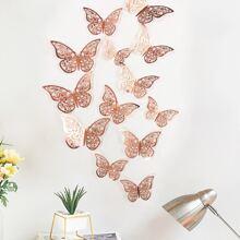 12 Stuecke Hohle Schmetterling Wanddekor