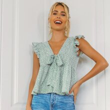 Tie Front Ruffle Armhole Smock Top