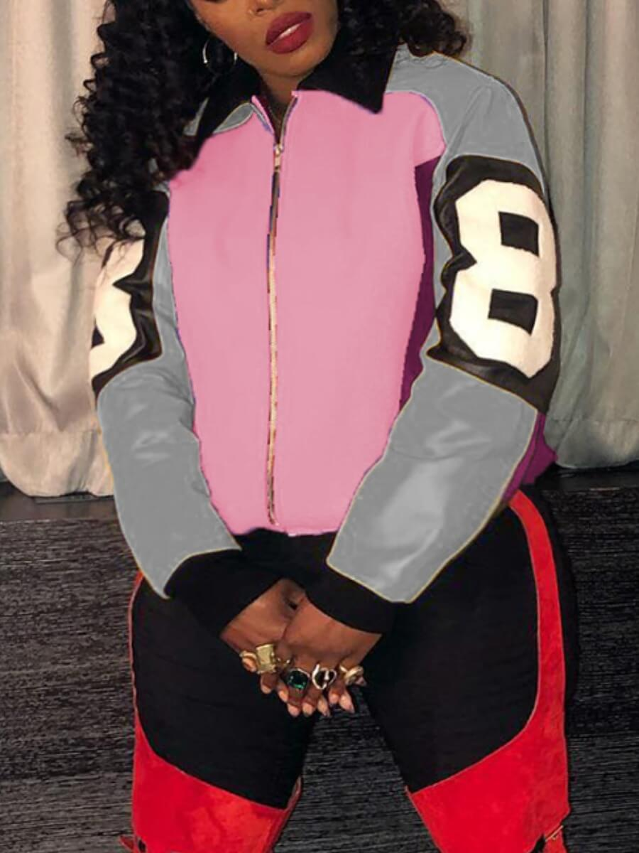LW Lovely Street Turndown Collar Print Patchwork Pink Plus Size Coat