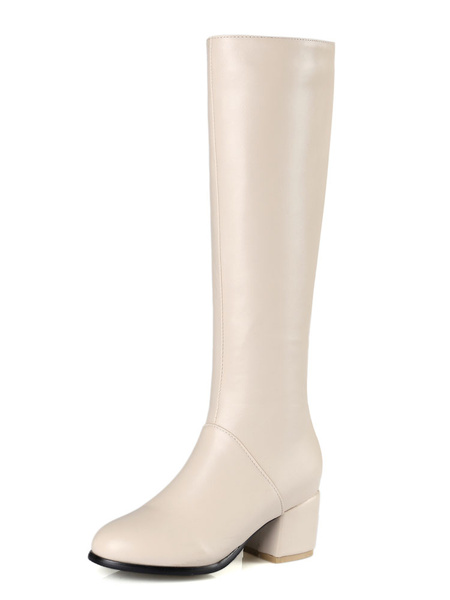 Milanoo Knee High Boots Womens PU Solid Color Round Toe Chunky Heel Boots