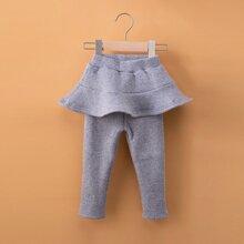 Toddler Girls Ruffle Trim Skirt Leggings