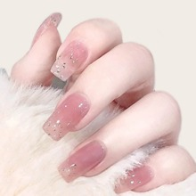 24pcs Rhinestone Decor Fake Nail With Double Side Tape