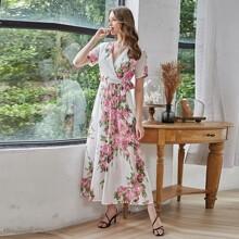 Floral Print Surplice Front Belted Dress