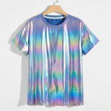 Holografisches Satin T-Shirt mit rundem Kragen