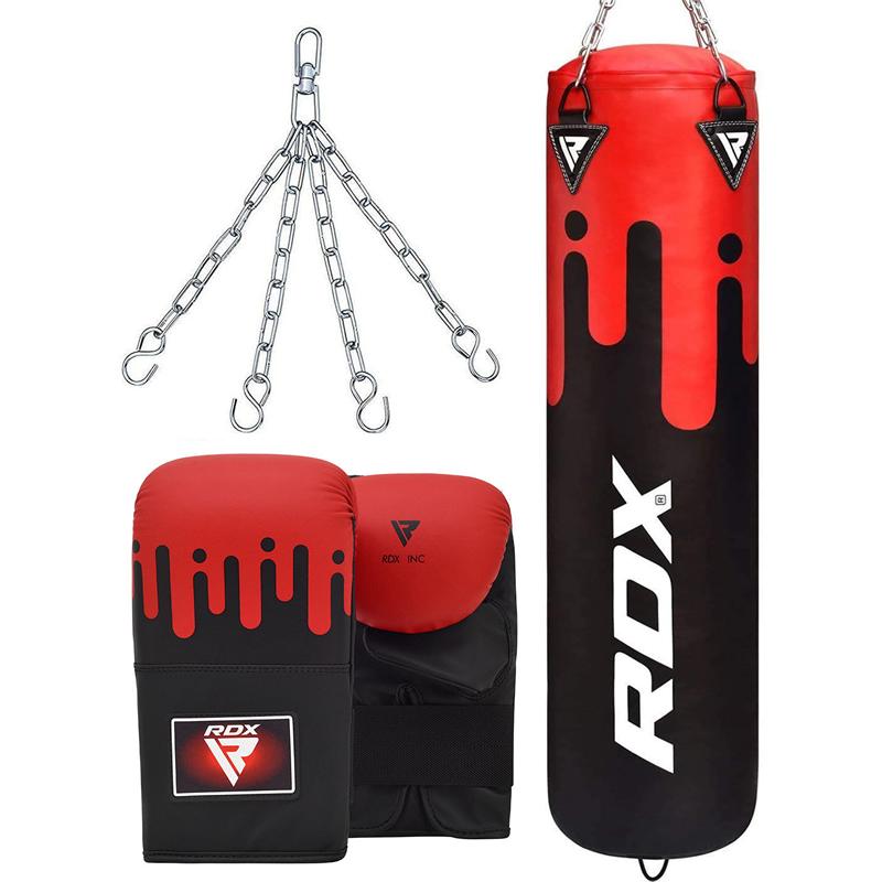 RDX F9 Punch Bag Unfilled 5ft with Bag Gloves Bundle Red/White/Black