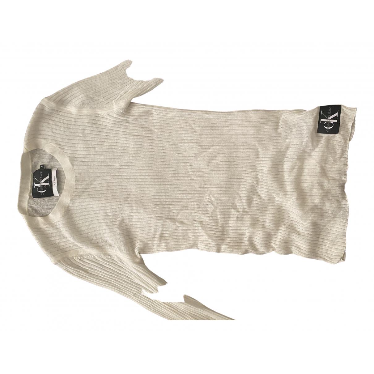 Calvin Klein - Pull   pour femme en soie - ecru