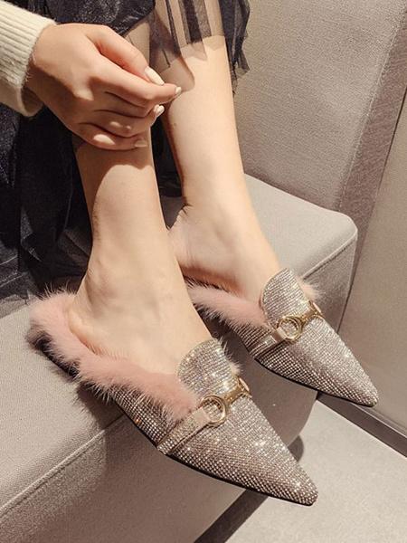 Milanoo Rosa Mocasines para mujer Zapatos con punta de metal con purpurina