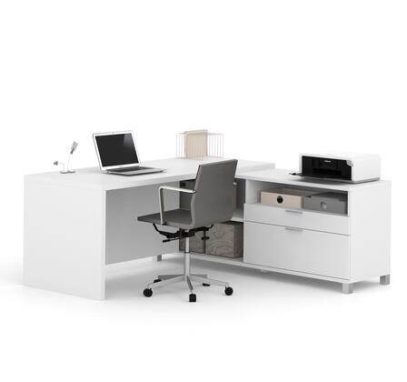 120863-17 Pro-Linea L-Desk Scratch and Stain Resistant Surface  Simple Pulls and Block Legs in
