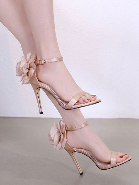 Milanoo High Heel Sandals Womens Flower Decorated Open Toe Ankle Strap Stiletto Heel Sandals