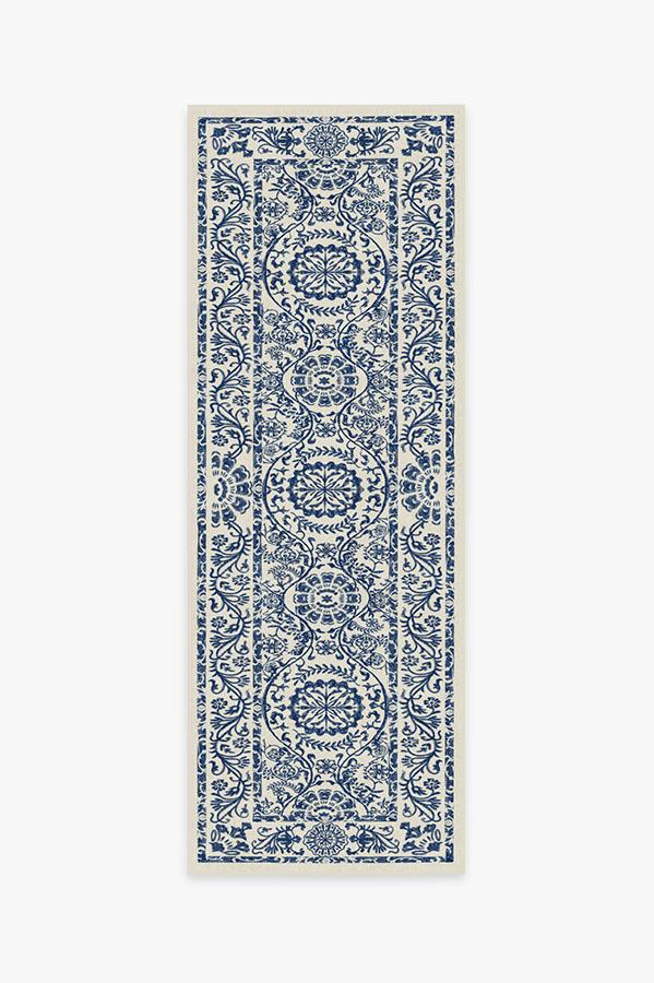 Washable Rug Cover & Pad | Delphina Delft Blue Rug | Stain-Resistant | Ruggable | 2.5'x7'