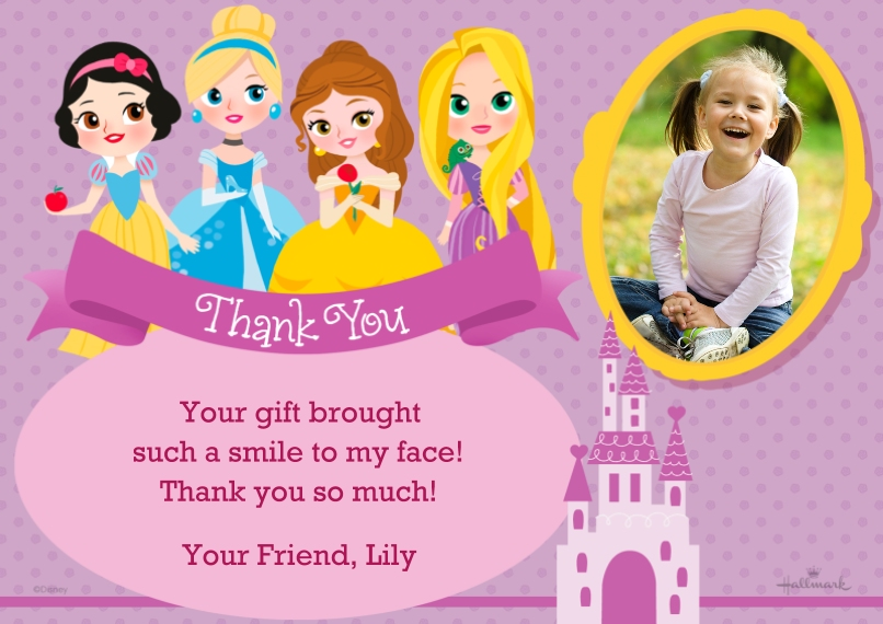 Kids Thank You Cards 5x7 Cards, Premium Cardstock 120lb with Scalloped Corners, Card & Stationery -Disney Princess Birthday Thank You