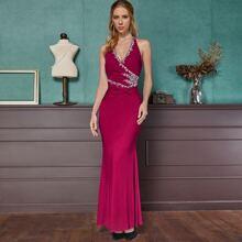 Angel-Fashions Rhinestone Detail Prom Dress