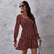 Ditsy Floral Shirred Layered Ruffle Dress