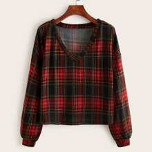 V-neck Tartan Plaid Sweatshirt