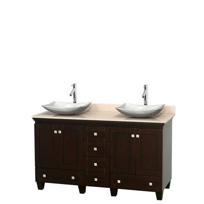 WCV800060DESIVGS6MXX 60 in. Double Bathroom Vanity in Espresso  Ivory Marble Countertop  Arista White Carrera Marble Sinks  and No
