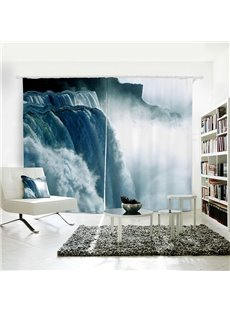 Mountain and Waterfall Pattern 3D Polyester Curtain