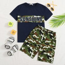 Boys Letter and Contrast Panel Top & Camo Shorts Set