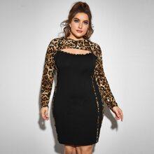 Plus Open Front Leopard Panel 2 In 1 Hooded Dress