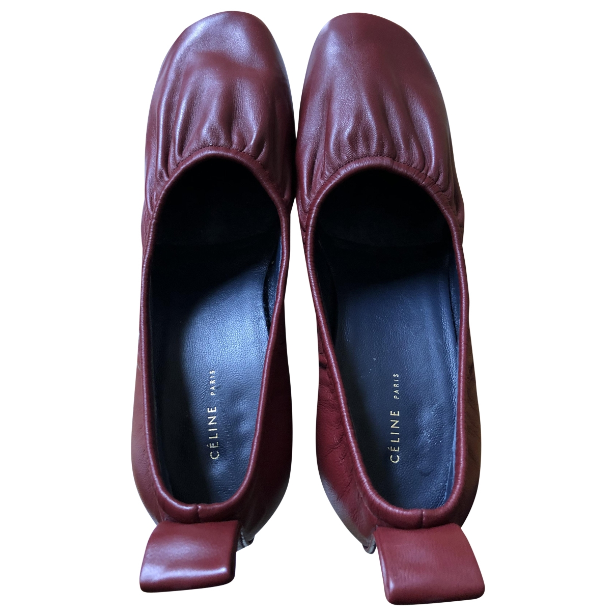 Celine Soft Ballerina Burgundy Leather Heels for Women 36 EU