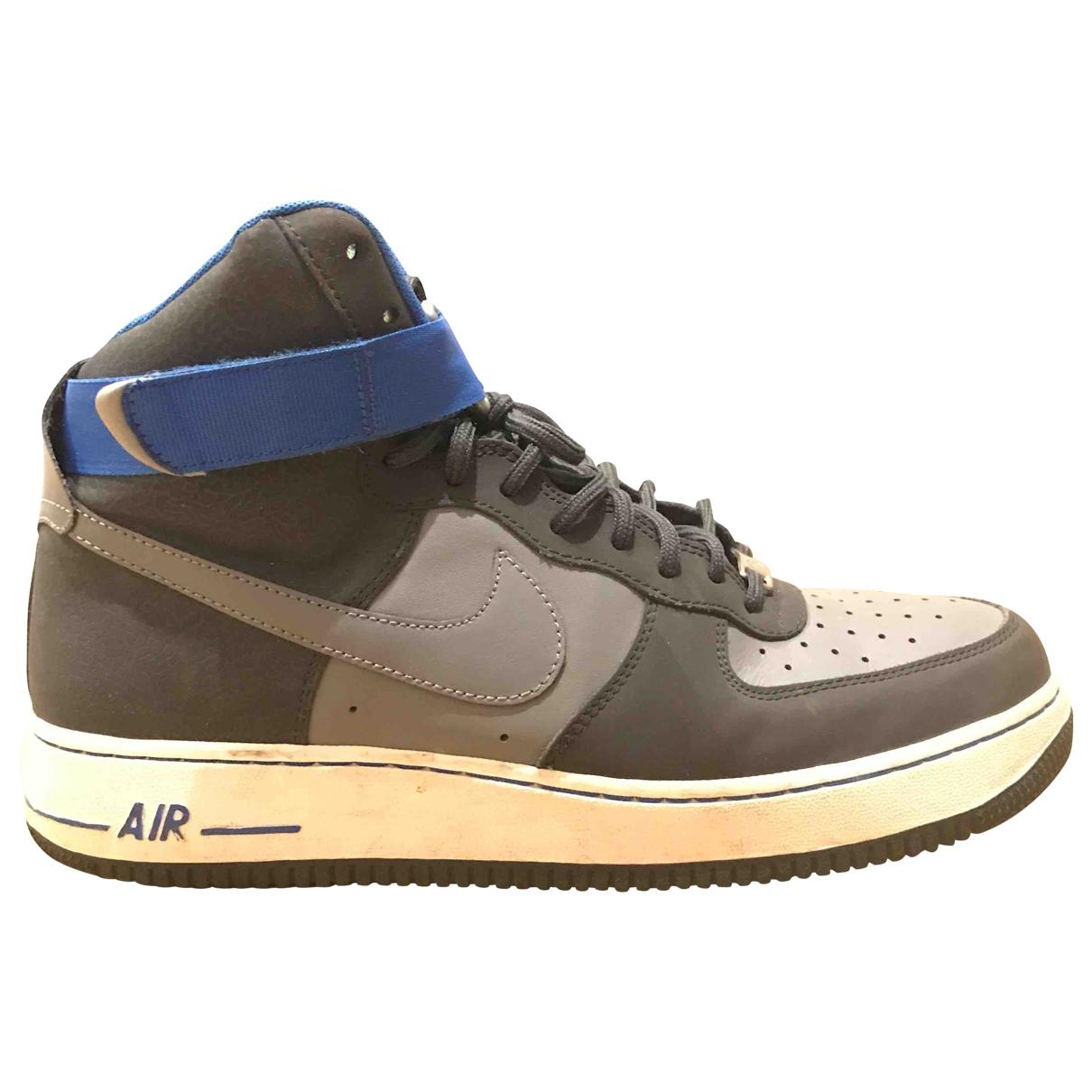 Nike - Baskets Air Force 1 pour homme en cuir - gris