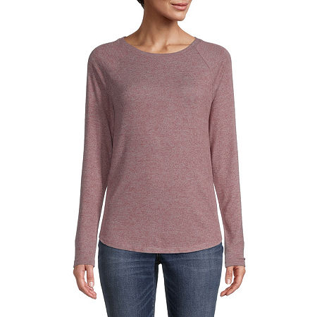 St. John's Bay-Womens Round Neck Long Sleeve T-Shirt, Small , Red
