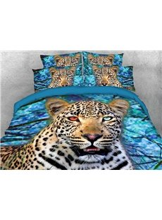 3D Wild Leopard Duvet Cover Set Soft Wrinkle-resistant 4-Piece Animal Bedding Sets