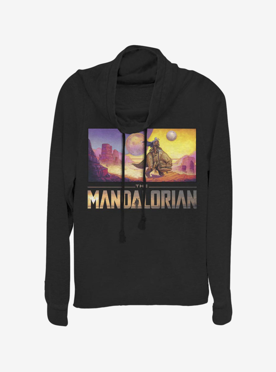 Star Wars The Mandalorian Colorful Mandalorian Landscape Cowlneck Long-Sleeve Womens Top