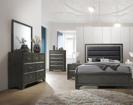 Paxton Collection PA525QNCMDR 5-Piece Bedroom Set with Queen Bed  Nightstand  Chest  Mirror and Dresser in