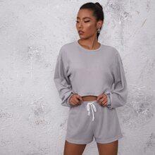 Solid Waffle Knit Sweatshirt With Drawstring Waist Shorts