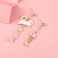 2pairs Fish & Cat Design Drop Earrings