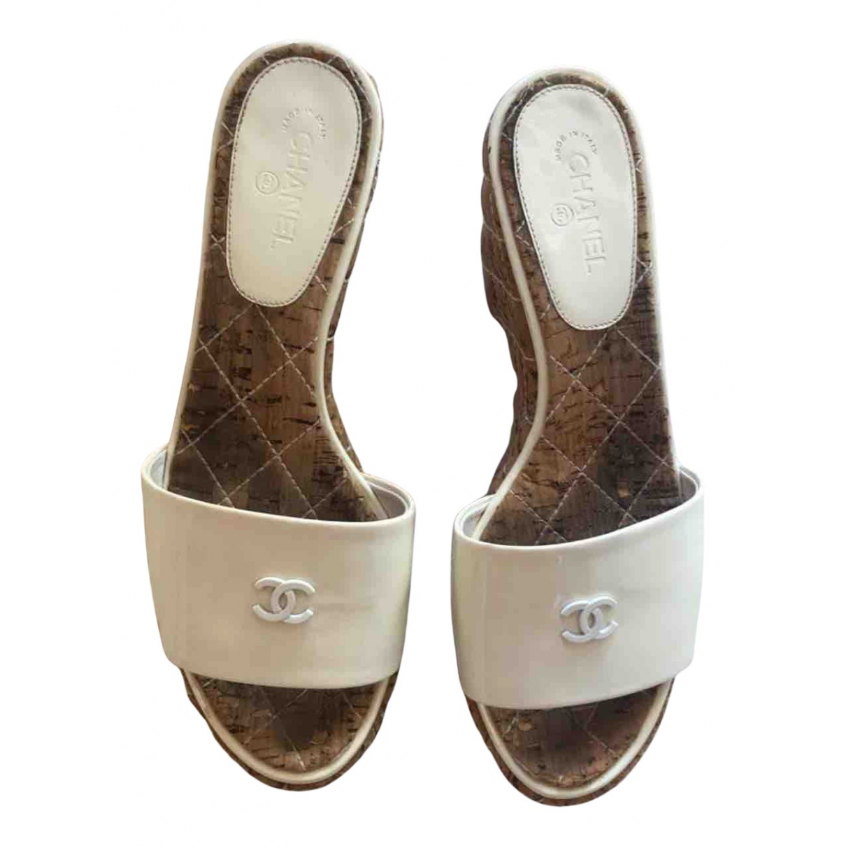 Chanel N White Patent leather Sandals for Women 37 EU
