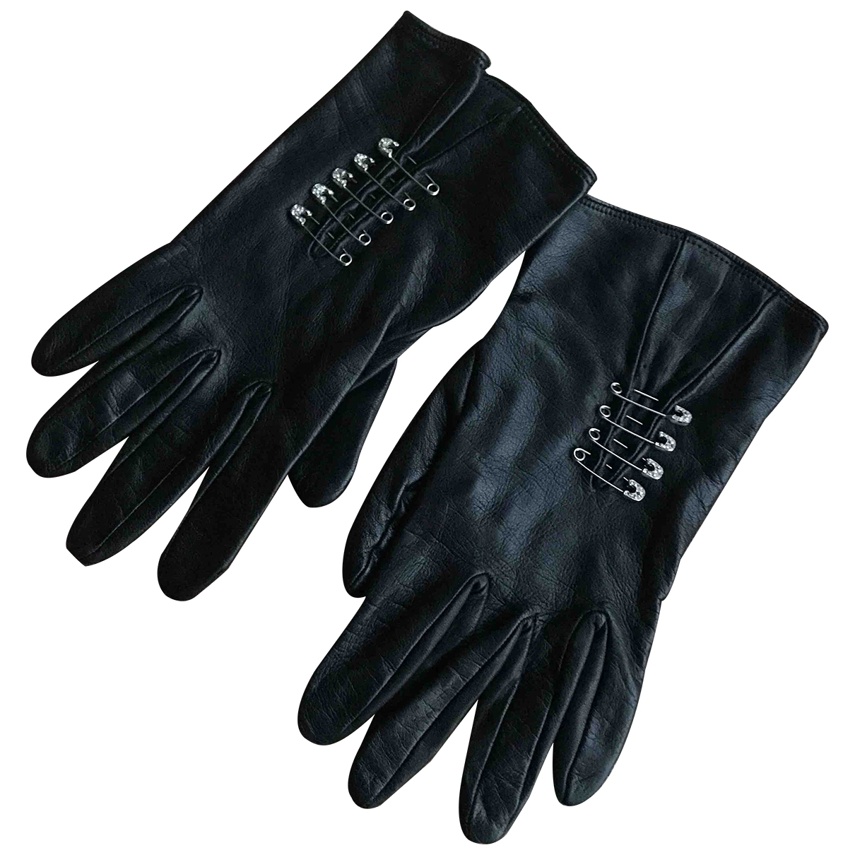 Non Signé / Unsigned \N Black Leather Gloves for Women 7 Inches