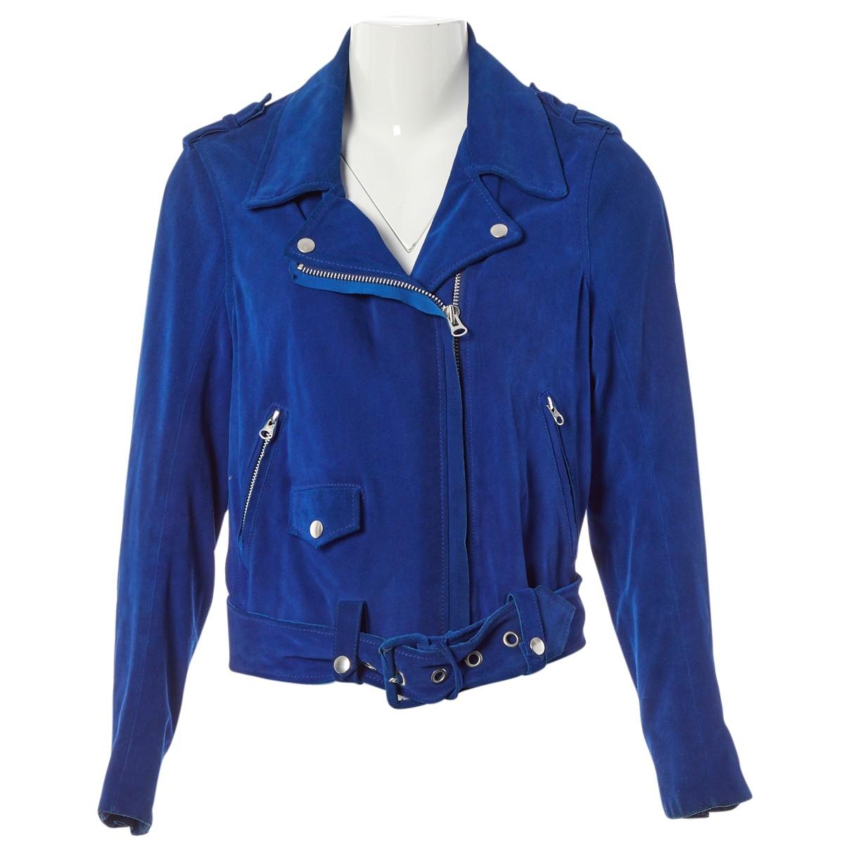 Acne Studios - Veste   pour femme en suede - bleu