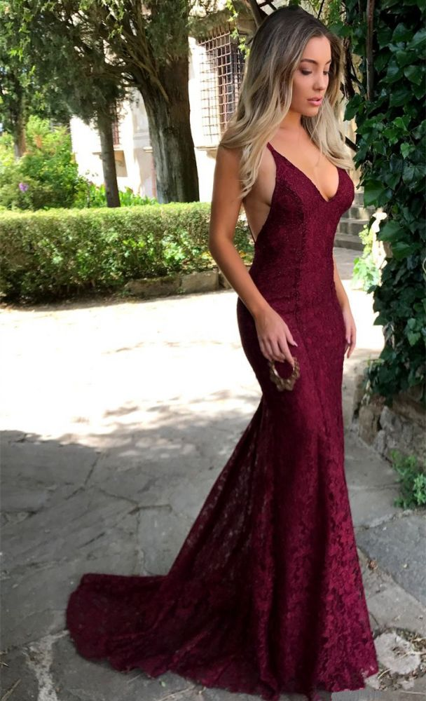 Sexy Open Back Burgundy Lace Formal Evening Dresses V-neck Backless Mermaid Prom Dress