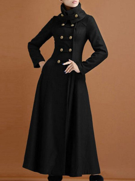 Milanoo Black Winter Coat Stand Collar Long Sleeves Buttons Oversized Casual Woman\'s Outerwear