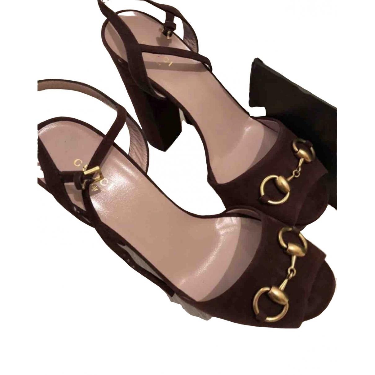 Gucci - Sandales   pour femme en suede - marron