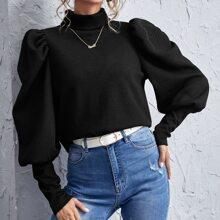 Pullover mit Trichterhalsband und Gigotaermeln